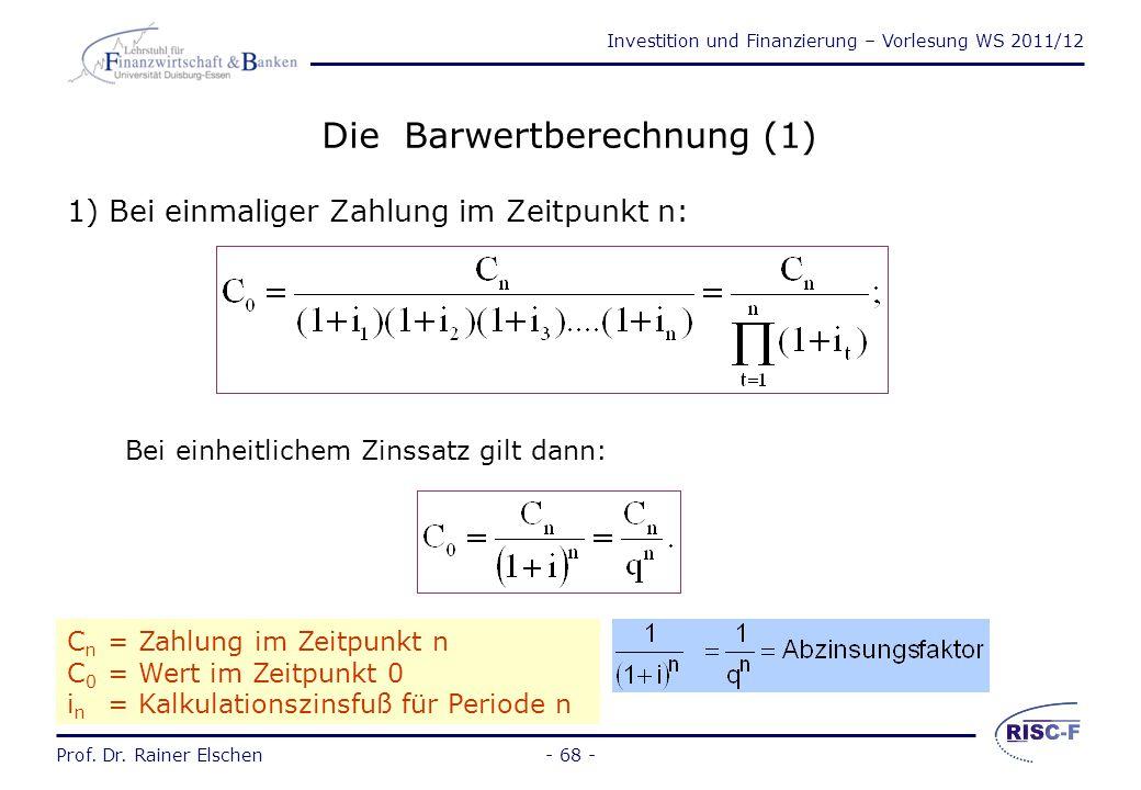 Die Barwertberechnung (1)
