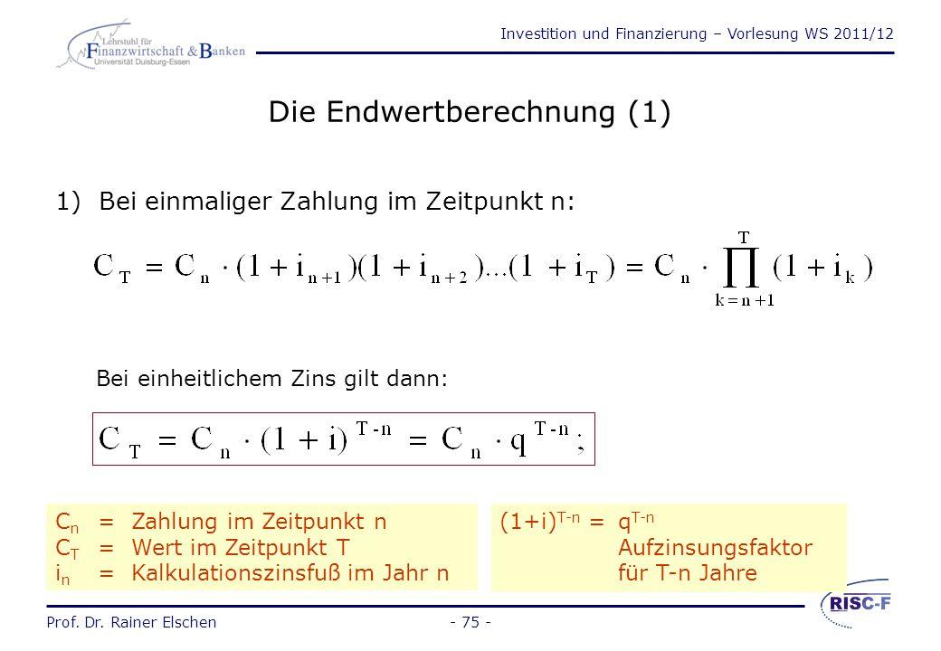 Die Endwertberechnung (1)