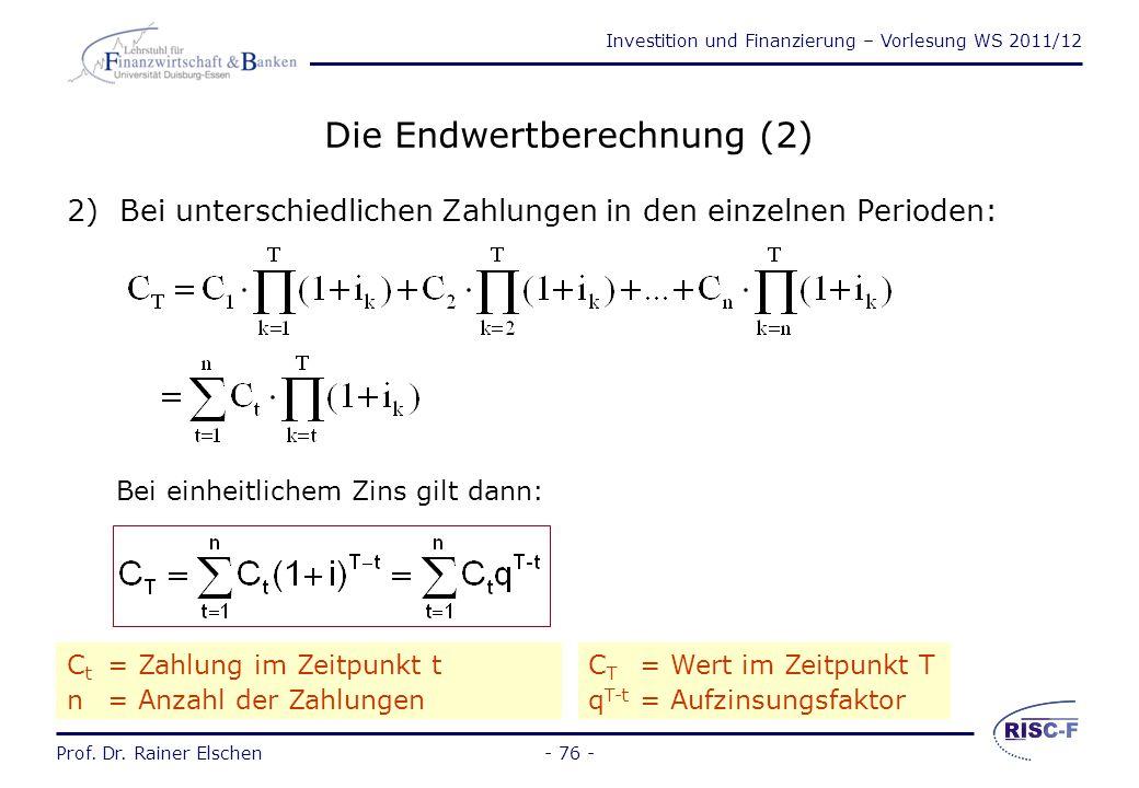 Die Endwertberechnung (2)
