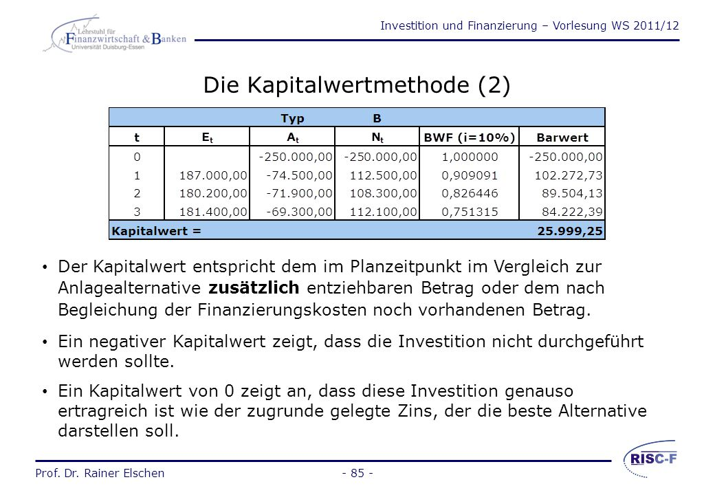 Die Kapitalwertmethode (2)