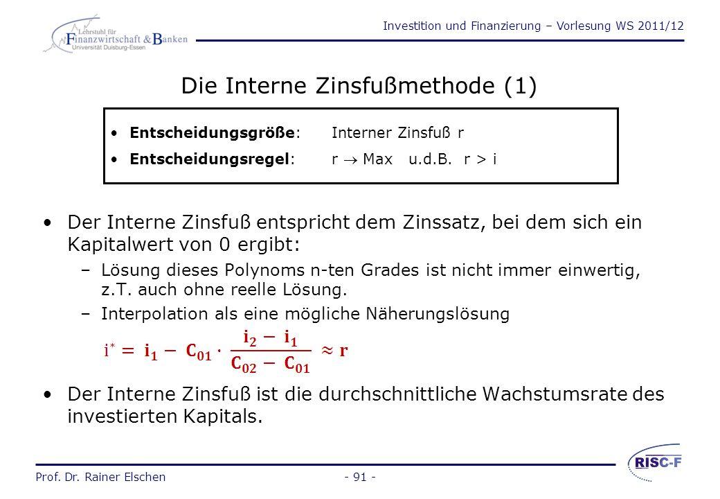 Die Interne Zinsfußmethode (1)