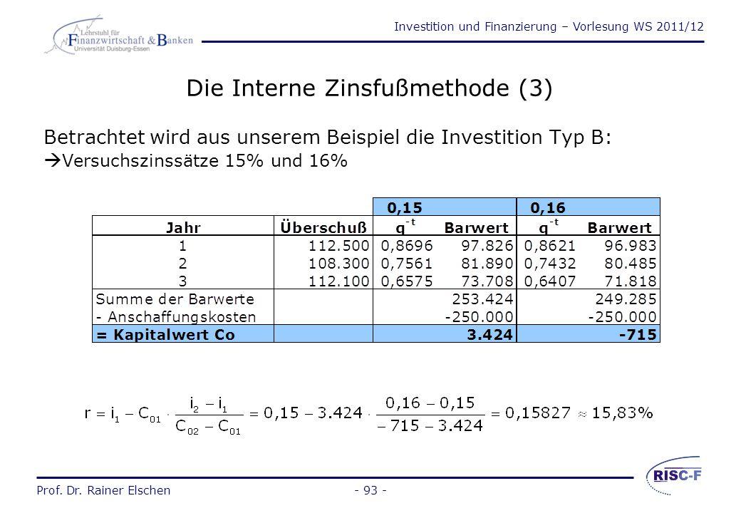 Die Interne Zinsfußmethode (3)