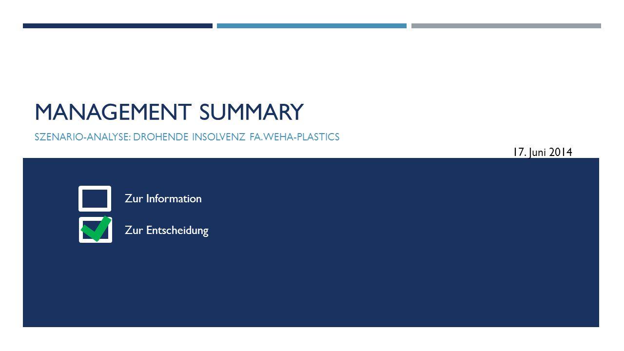 Szenario-analyse: drohende Insolvenz Fa. WEHA-Plastics
