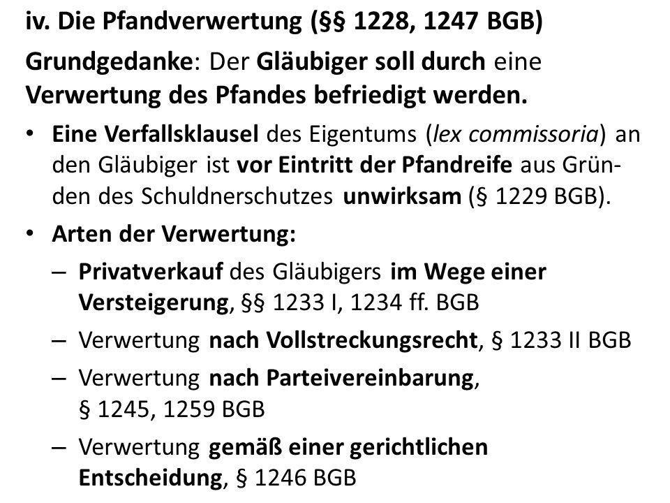iv. Die Pfandverwertung (§§ 1228, 1247 BGB)