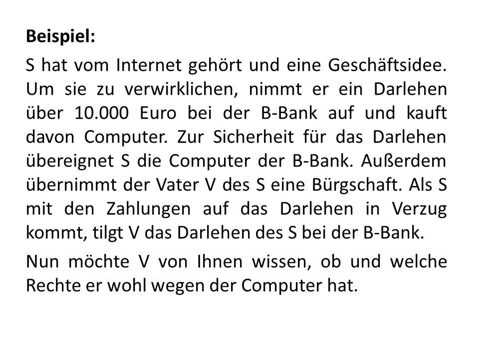 Beispiel: S hat vom Internet gehört und eine Geschäftsidee