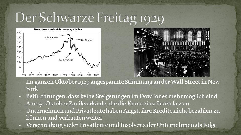 Der Schwarze Freitag 1929 Im ganzen Oktober 1929 angespannte Stimmung an der Wall Street in New York.