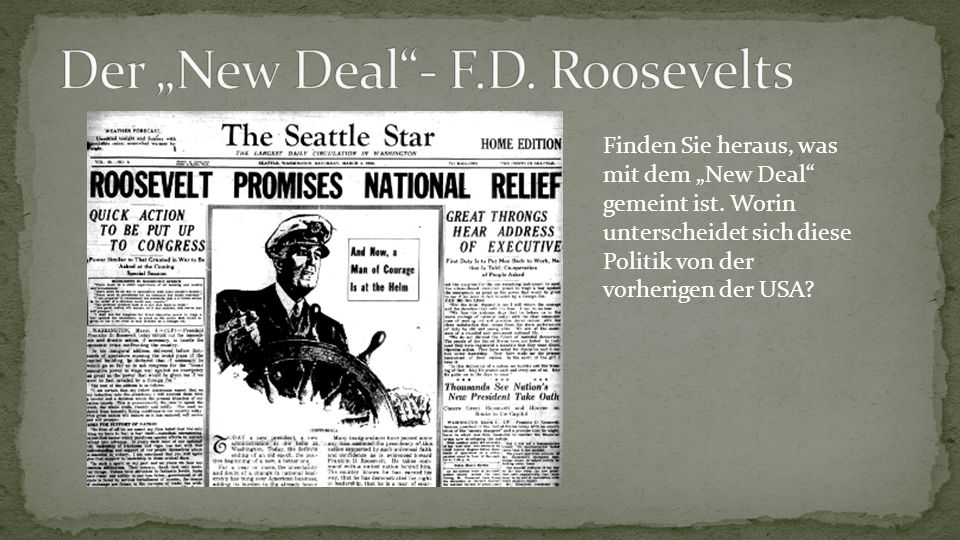 """Der """"New Deal - F.D. Roosevelts"""