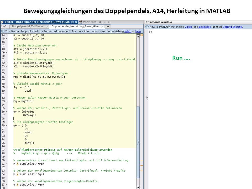 Bewegungsgleichungen des Doppelpendels, A14, Herleitung in MATLAB