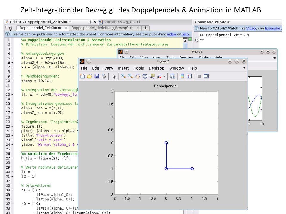 Zeit-Integration der Beweg.gl. des Doppelpendels & Animation in MATLAB