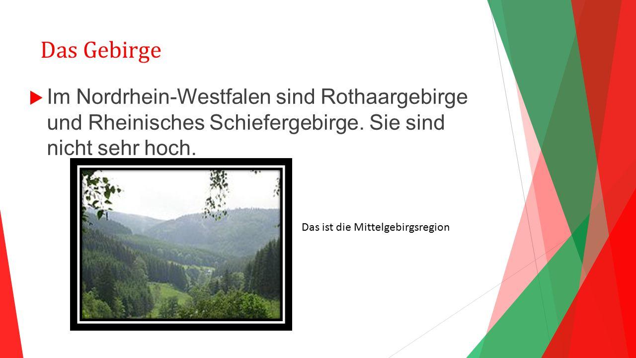 Das Gebirge Im Nordrhein-Westfalen sind Rothaargebirge und Rheinisches Schiefergebirge. Sie sind nicht sehr hoch.
