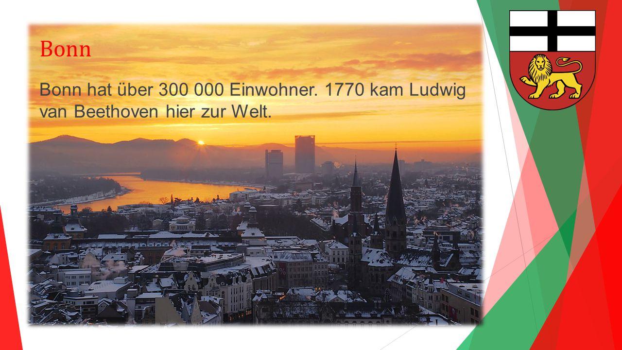 Bonn Bonn hat über 300 000 Einwohner. 1770 kam Ludwig van Beethoven hier zur Welt.