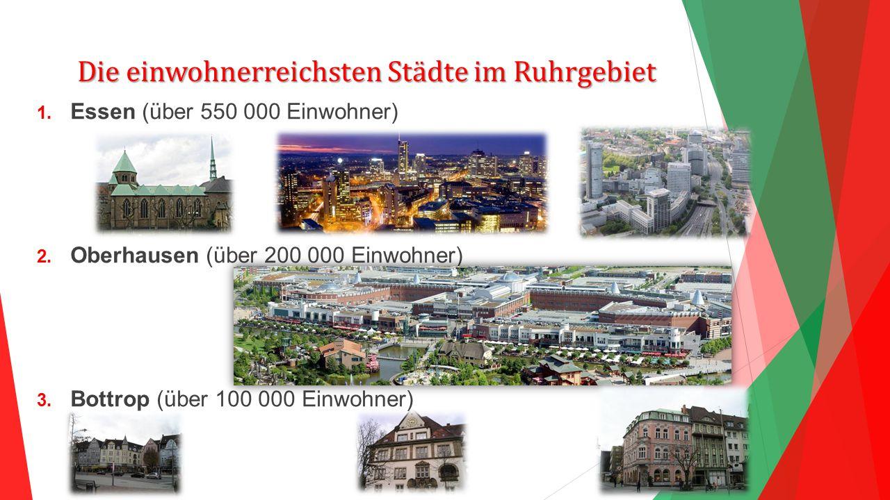 Die einwohnerreichsten Städte im Ruhrgebiet