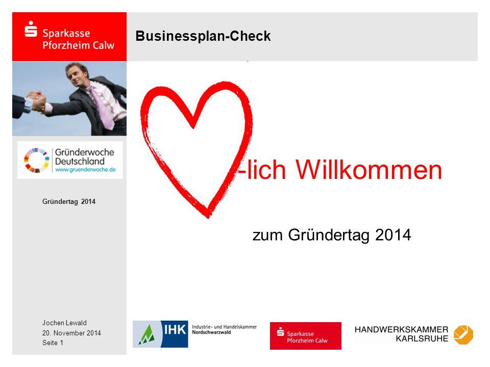 Businessplan-Check -lich Willkommen zum Gründertag 2014