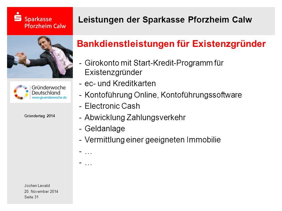 Bankdienstleistungen für Existenzgründer