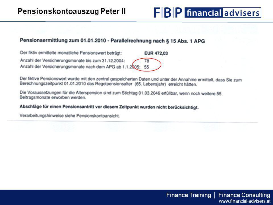 Pensionskontoauszug Peter II