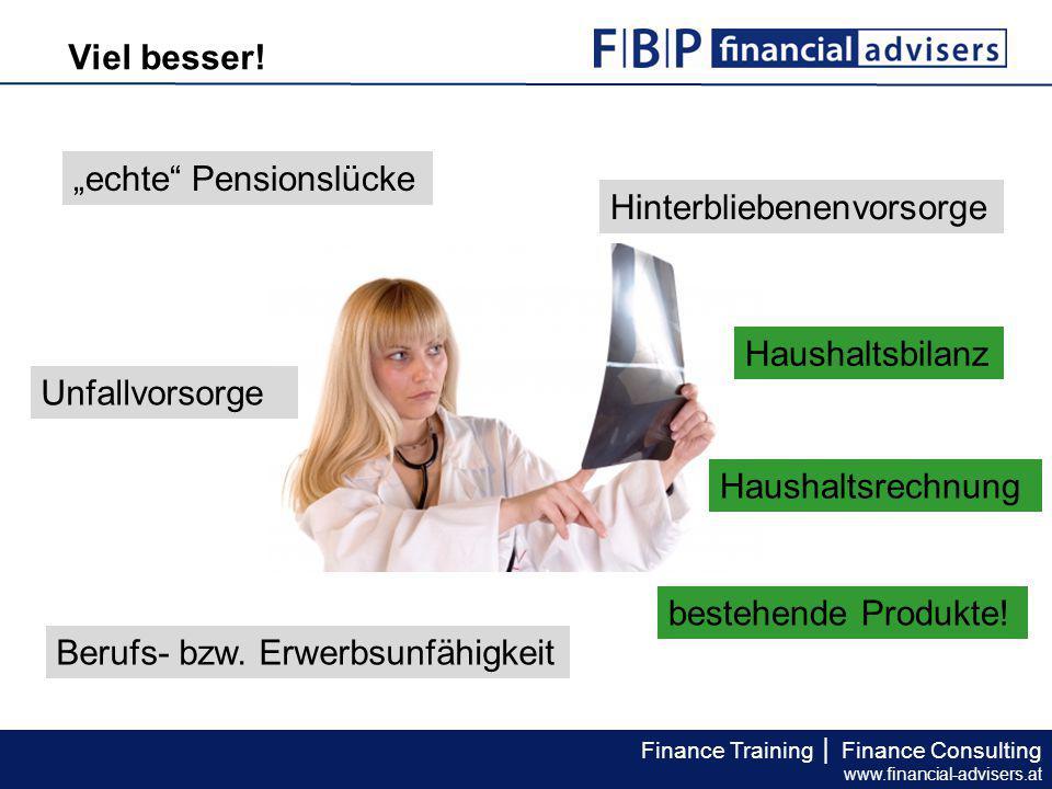 """Viel besser! """"echte Pensionslücke. Hinterbliebenenvorsorge. Haushaltsbilanz. Unfallvorsorge. Haushaltsrechnung."""