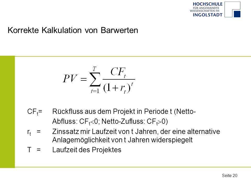 Korrekte Kalkulation von Barwerten