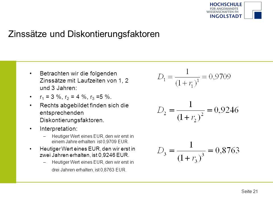 Zinssätze und Diskontierungsfaktoren