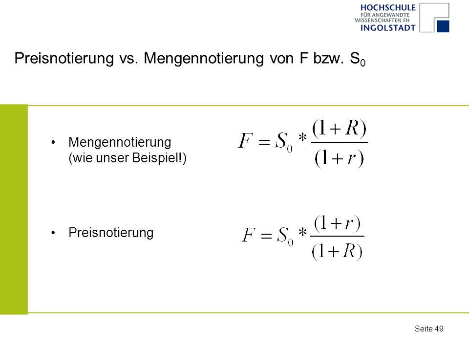 Preisnotierung vs. Mengennotierung von F bzw. S0