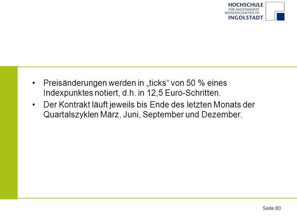 """Preisänderungen werden in """"ticks von 50 % eines Indexpunktes notiert, d.h. in 12,5 Euro-Schritten."""