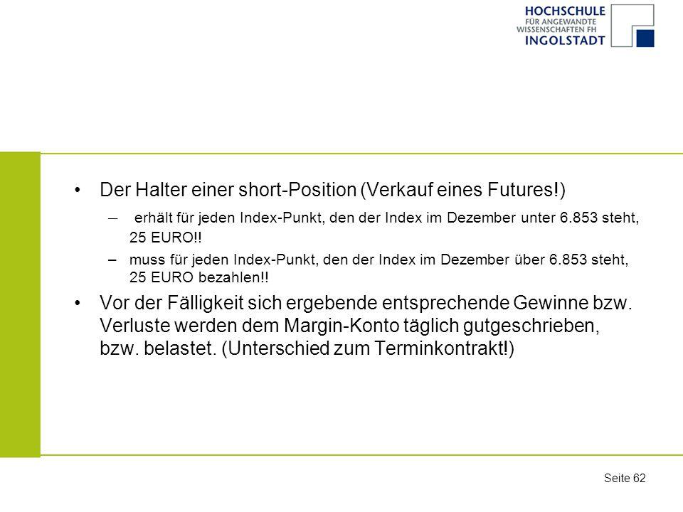 Der Halter einer short-Position (Verkauf eines Futures!)