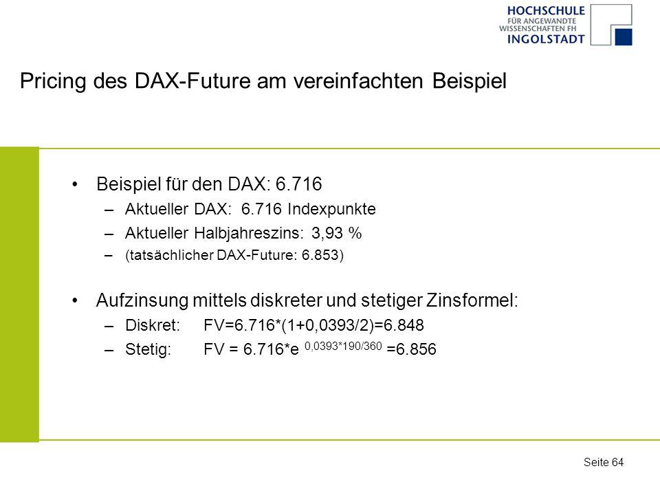 Pricing des DAX-Future am vereinfachten Beispiel