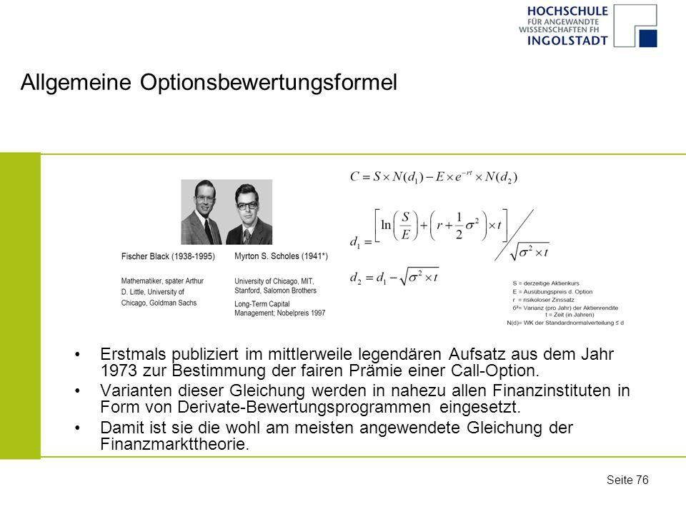 Allgemeine Optionsbewertungsformel