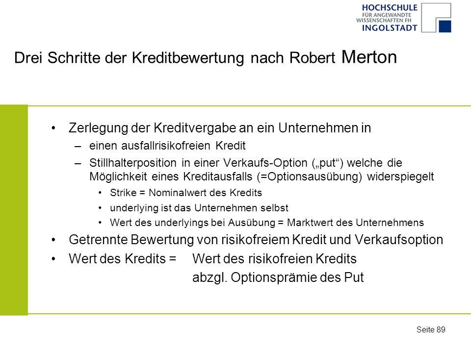 Drei Schritte der Kreditbewertung nach Robert Merton