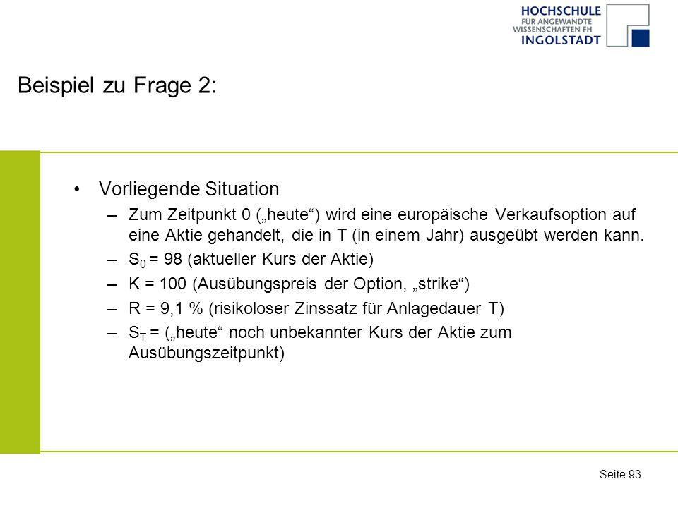 Beispiel zu Frage 2: Vorliegende Situation