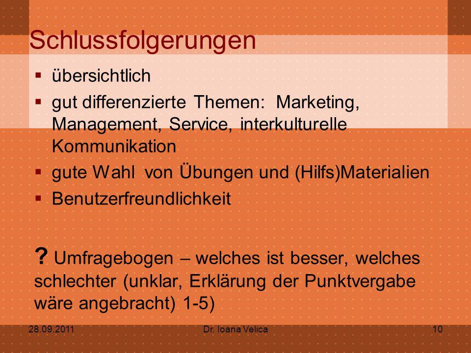 Schlussfolgerungen übersichtlich. gut differenzierte Themen: Marketing, Management, Service, interkulturelle Kommunikation.