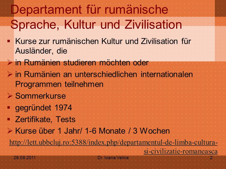 Departament für rumänische Sprache, Kultur und Zivilisation