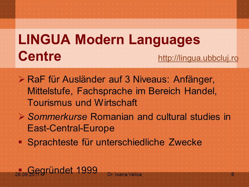 LINGUA Modern Languages Centre http://lingua.ubbcluj.ro