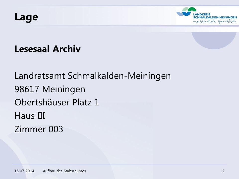 Lage Lesesaal Archiv Landratsamt Schmalkalden-Meiningen 98617 Meiningen Obertshäuser Platz 1 Haus III Zimmer 003