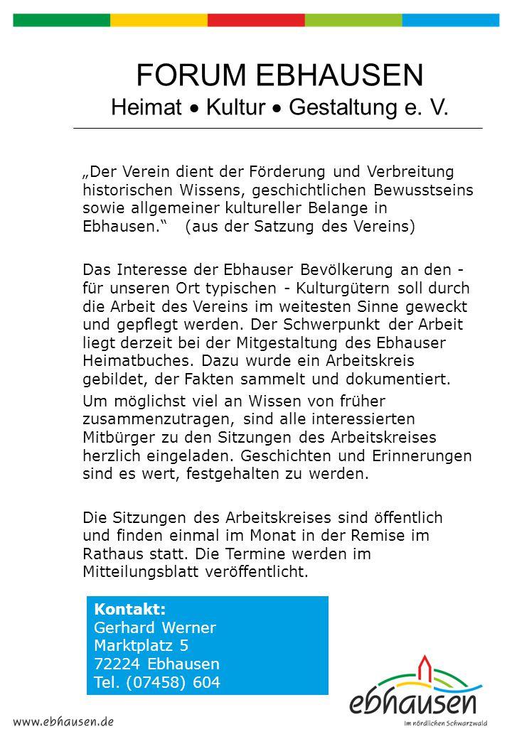 FORUM EBHAUSEN Heimat  Kultur  Gestaltung e. V.