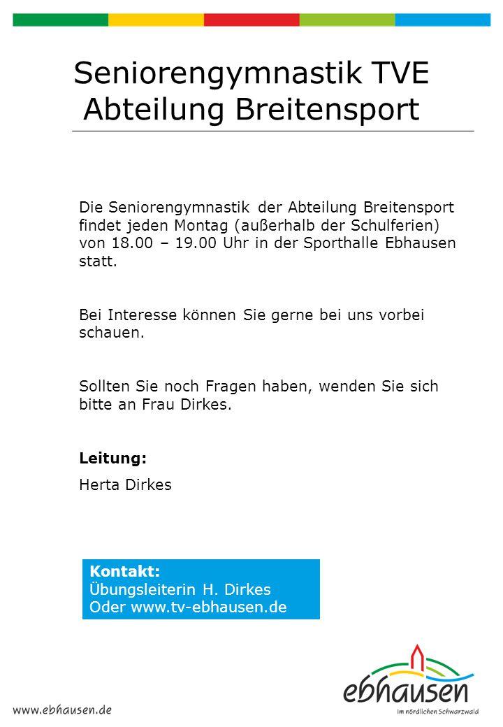 Seniorengymnastik TVE Abteilung Breitensport