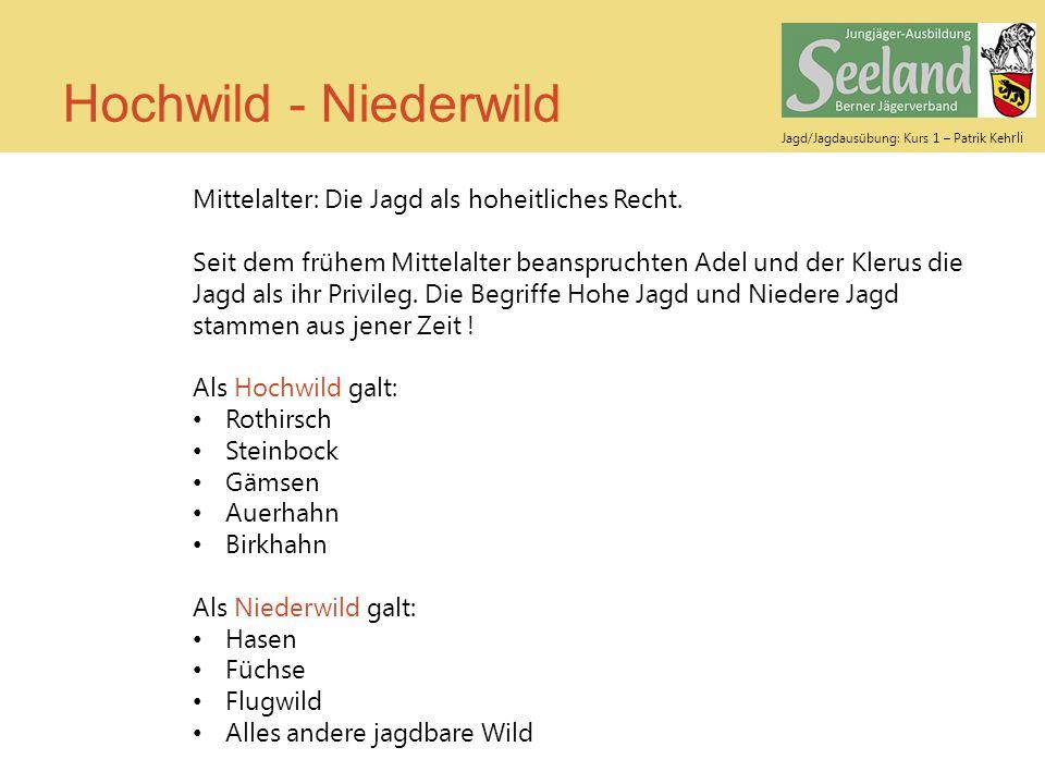 Hochwild - Niederwild Mittelalter: Die Jagd als hoheitliches Recht.