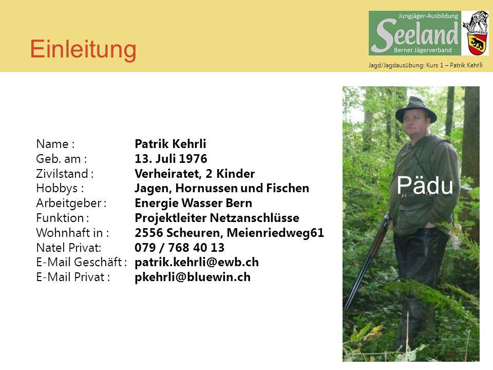 Einleitung Pädu Name : Patrik Kehrli Geb. am : 13. Juli 1976