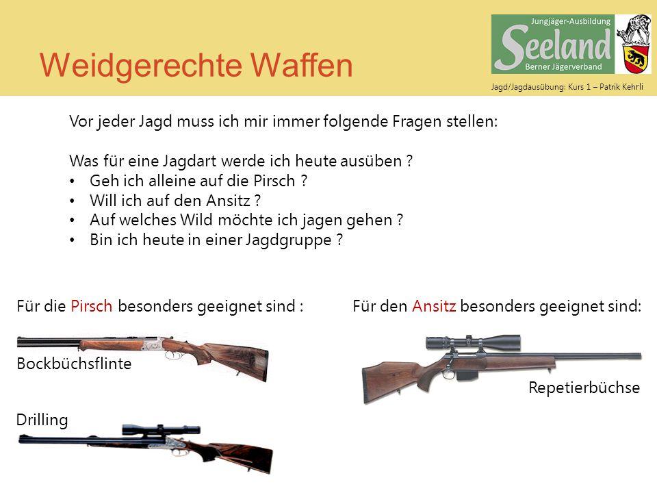 Weidgerechte Waffen Vor jeder Jagd muss ich mir immer folgende Fragen stellen: Was für eine Jagdart werde ich heute ausüben