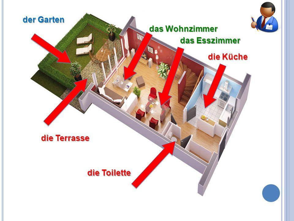 der Garten das Wohnzimmer das Esszimmer die Küche die Terrasse die Toilette