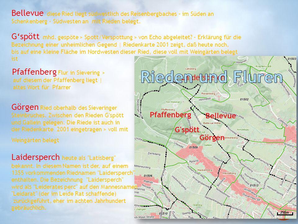 Bellevue diese Ried liegt südwestlich des Reisenbergbaches - im Süden an Schenkenberg - Südwesten an mit Rieden belegt.