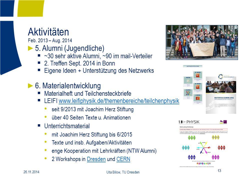 Aktivitäten Feb. 2013 – Aug. 2014 5. Alumni (Jugendliche)