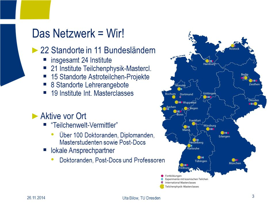 Das Netzwerk = Wir! 22 Standorte in 11 Bundesländern Aktive vor Ort