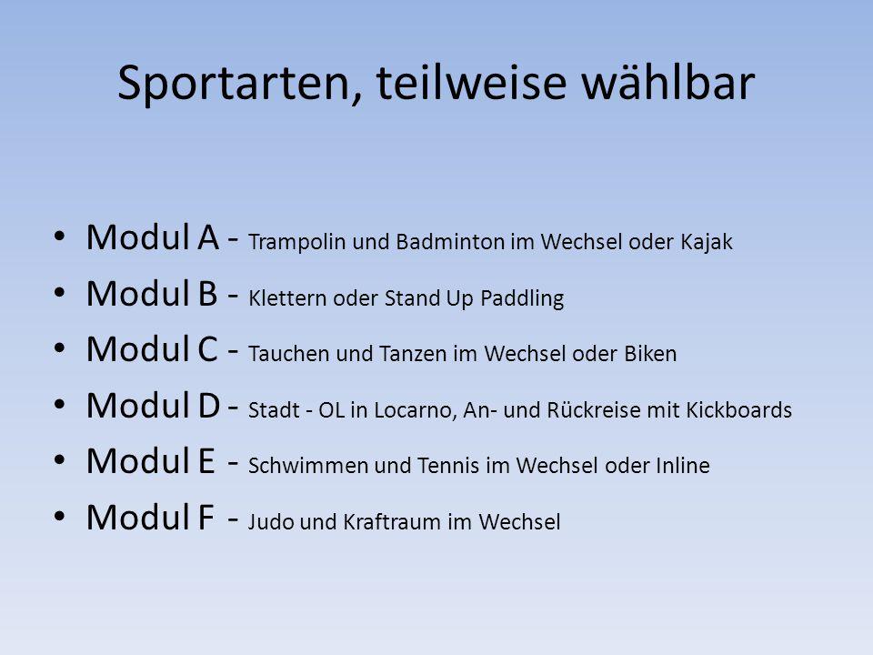 Sportarten, teilweise wählbar