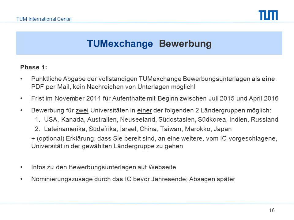 TUMexchange Bewerbung