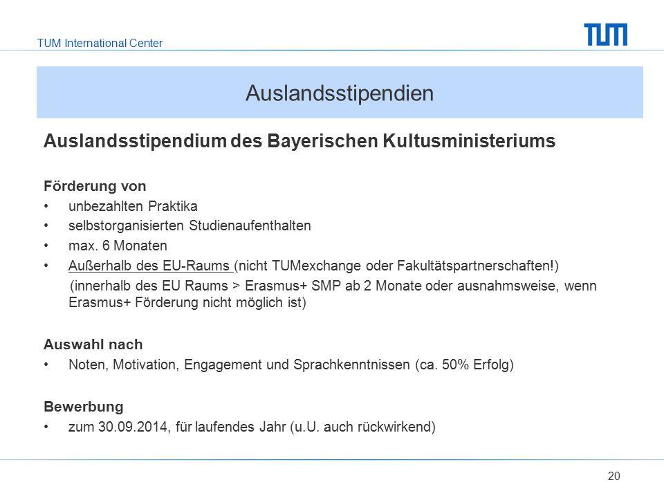 Auslandsstipendien Auslandsstipendium des Bayerischen Kultusministeriums. Förderung von. unbezahlten Praktika.