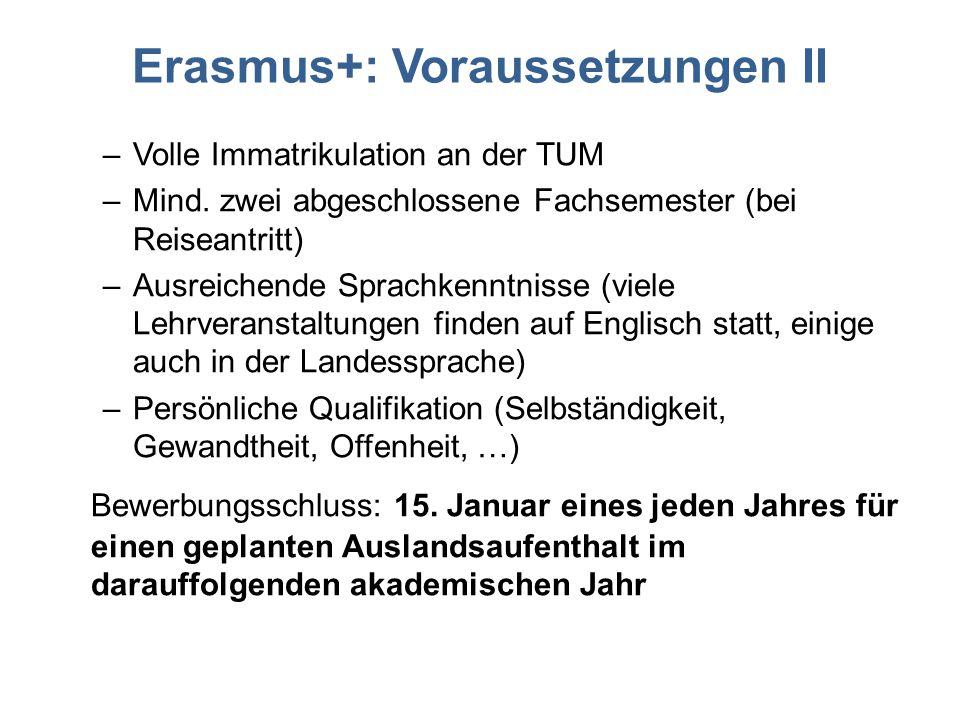 Erasmus+: Voraussetzungen II