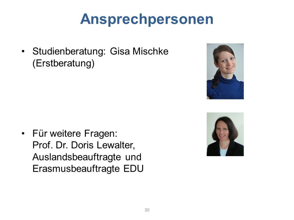 Ansprechpersonen Studienberatung: Gisa Mischke (Erstberatung)