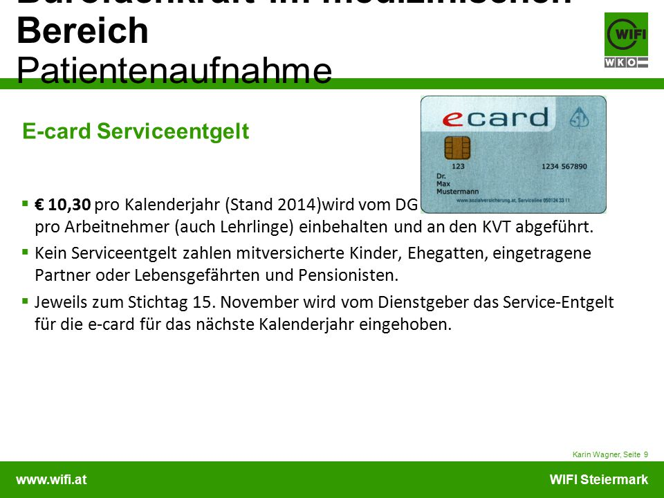 E-card Serviceentgelt