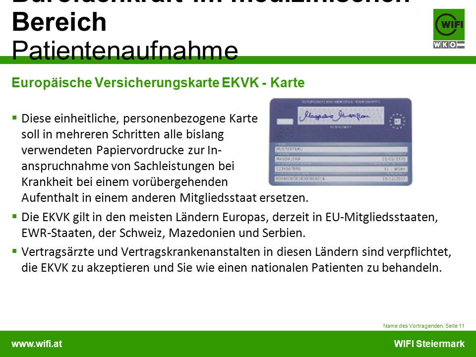 Europäische Versicherungskarte EKVK - Karte