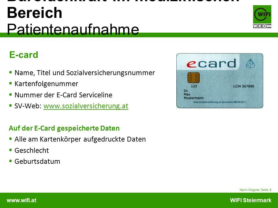 E-card Name, Titel und Sozialversicherungsnummer Kartenfolgenummer